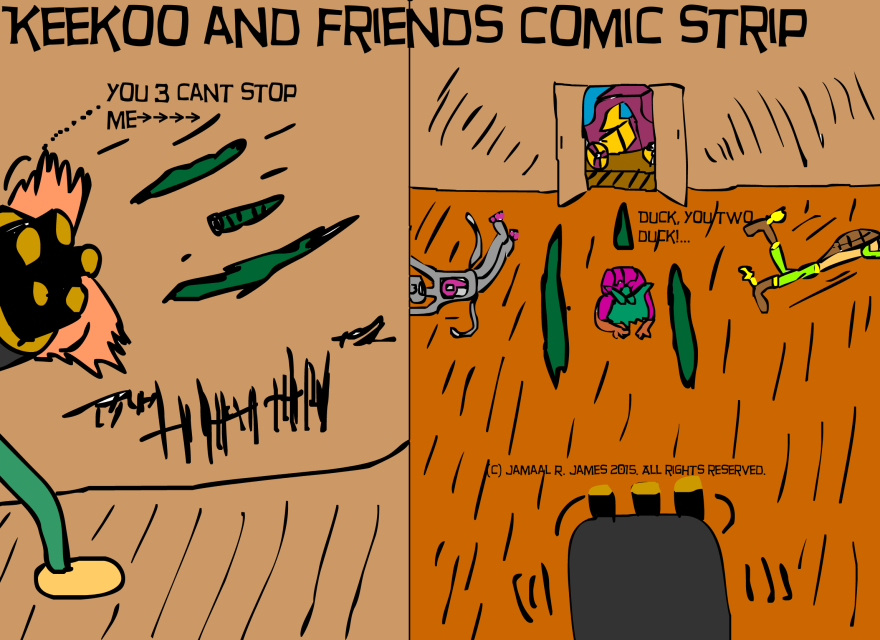 Keekoo and Friends Comic Strip created by Cartoonist Jamaal R. James for James Creative Arts and Entertainment Company.