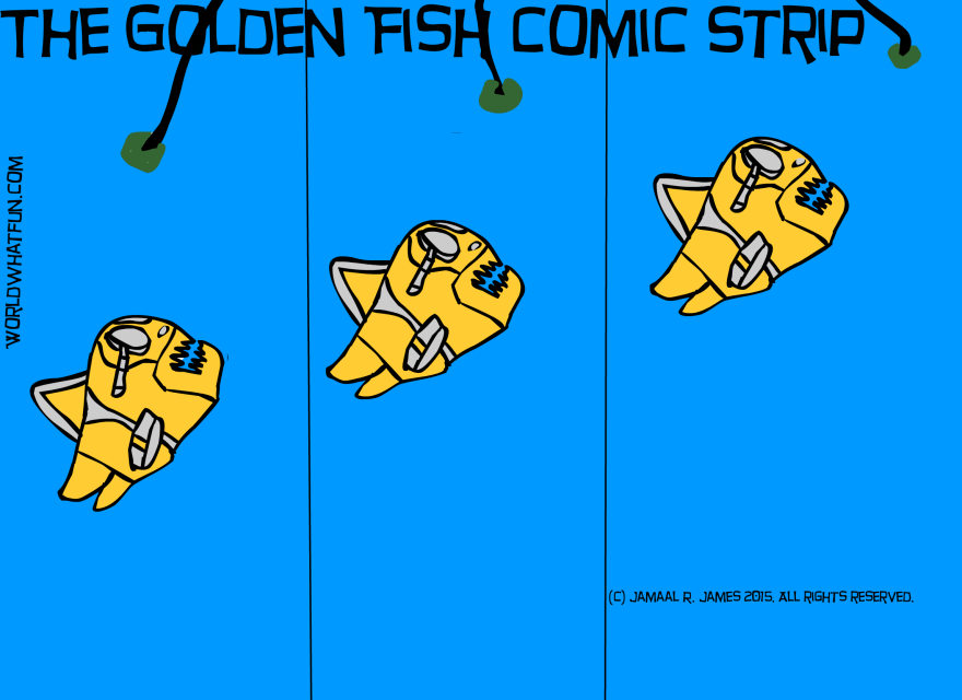 The Golden Fish Comic Strip created by Cartoonist Jamaal R. James for James Creative Arts And Entertainment Company. Ocean waterlife.