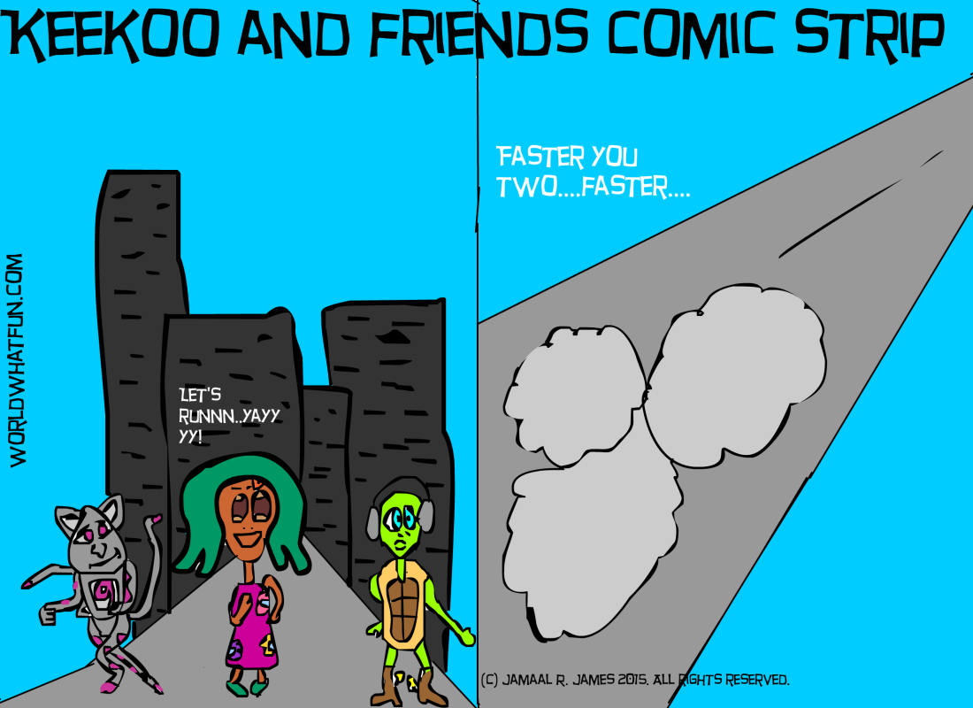 Keekoo and Friend's Comic Strip created by Cartoonist/Illustrator Jamaal R. James for James Creative Arts And Entertainment Company. Picture book, Children's picture book.