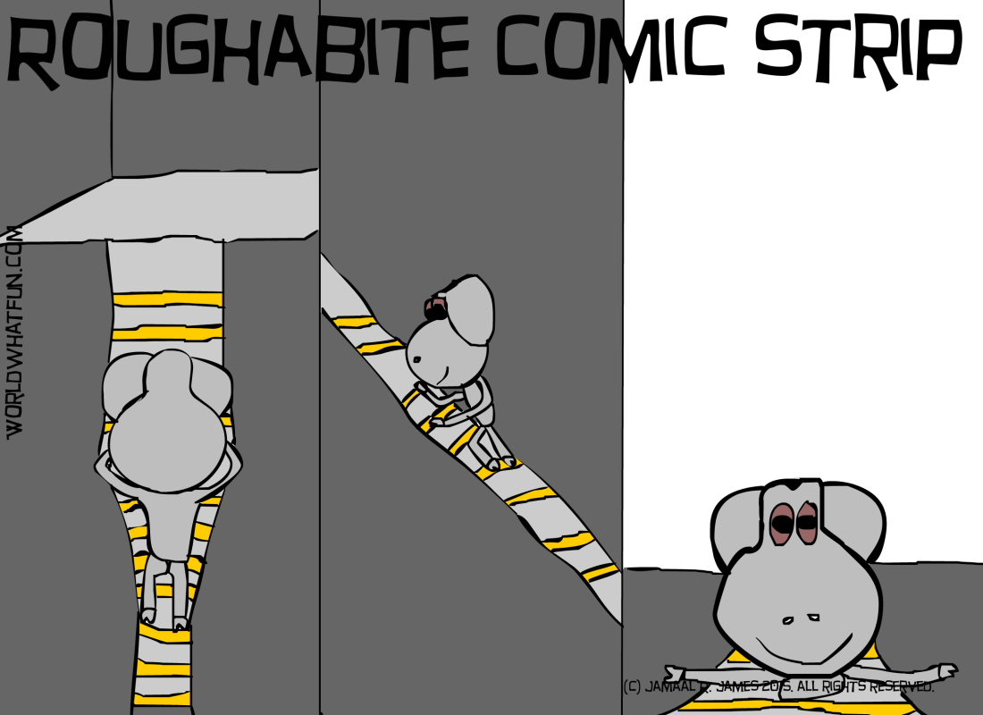 Roughabite Comic Strip created by Cartoonist Jamaal R. James for James Creative Arts And Entertainment Company. Children's books, picture books, illustration, kids books. He climbs the ladder.