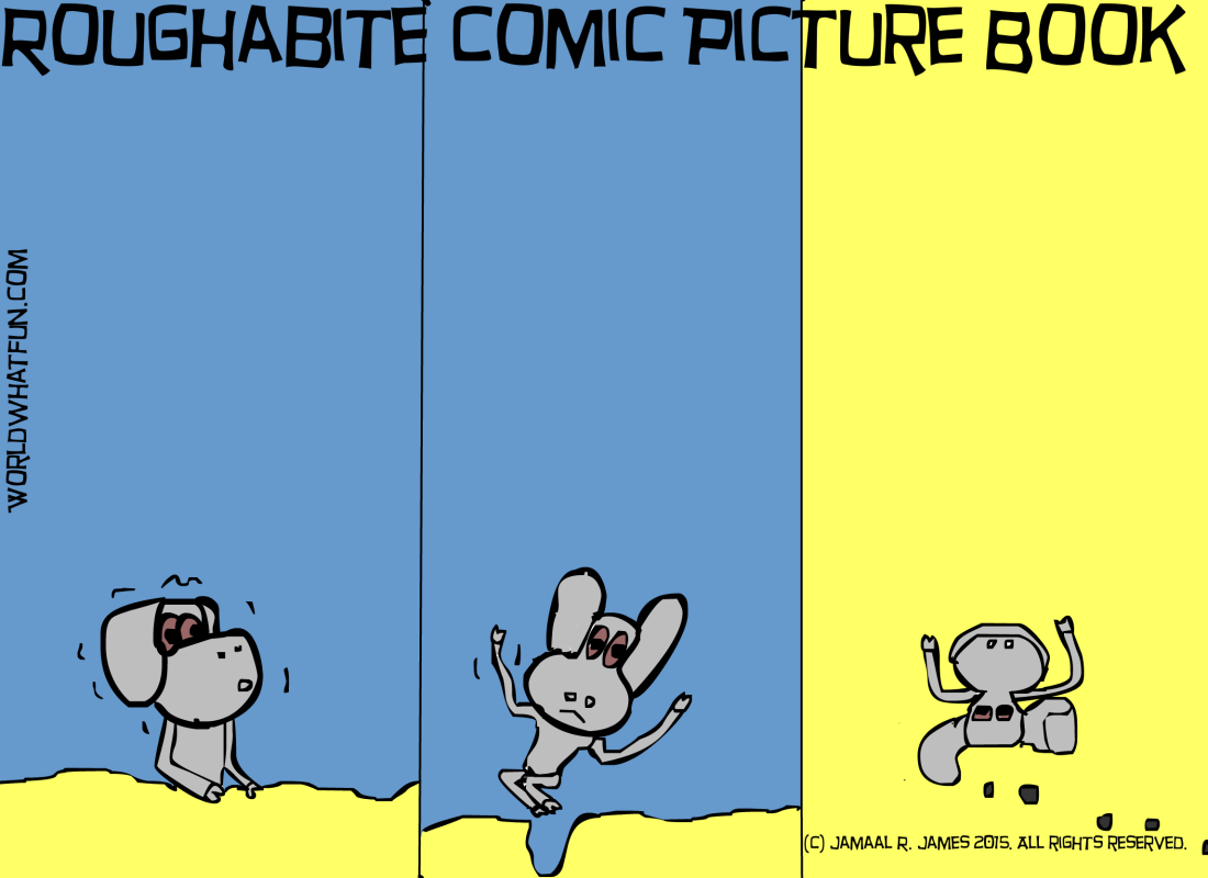 Roughabite Comic Picture Book created by Cartoonist Jamaal R. James for James Creative Arts And Entertainment Company. Children's literature, school, literacy, spatial learning.