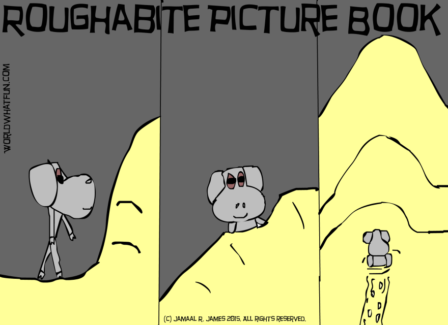 Roughabite Comic Picture Book created by Cartoonist Jamaal R. James for James Creative Arts And Entertainment company. Snow comic strip, blizzard. cold out side. watch cartoons online.