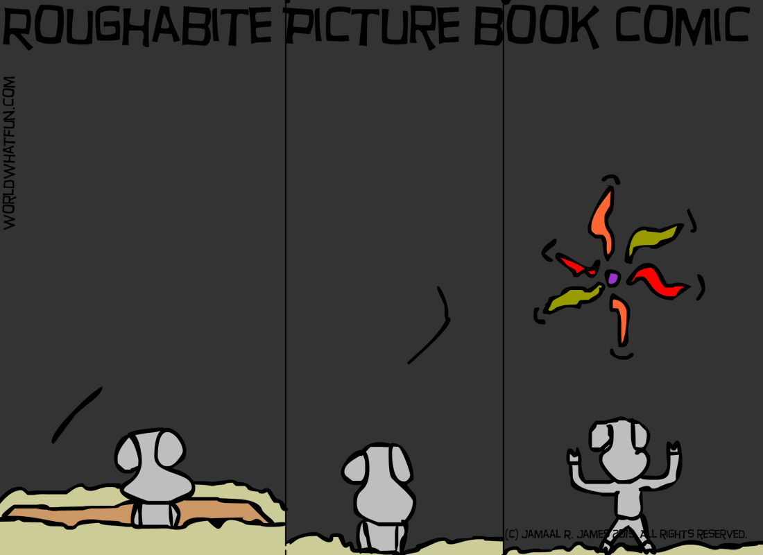 Roughabite Picture Book comic created by cartoonist Jamaal R. James for James Creative Arts And Entertainment Company. Picture book, watch cartoons online, new years day fireworks, new years comic.