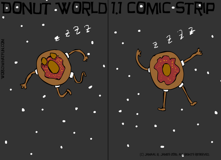 Donut World 1.1 Comic Strip created by Cartoonist Jamaal R. James for James Creative Arts And Entertainment Company. Dessert. illustrator. donut superhero.