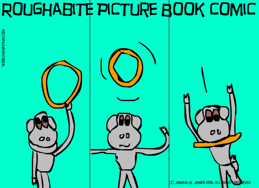 Roughabite Picture Book Comic created by Cartoonist/ illustrator Jamaal R. James for James Creative Arts And Entertainment Company. Gold rings. Olympics.