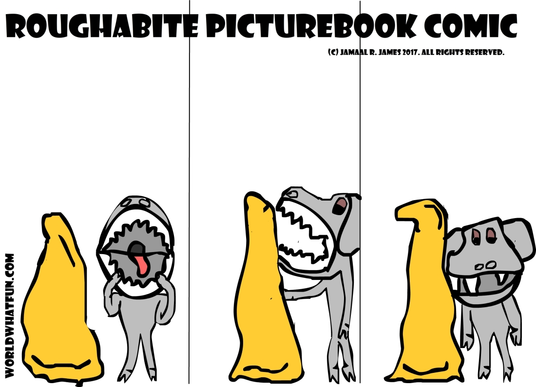 Roughabite is chilling and then he learns to play with a gold rock. Created by Cartoonist Jamaal R. james for James creative arts and entertainment company. jcaaec