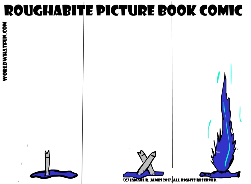 #Roughabite #PictureBook #Comic where he plays with #water by #Cartoonist Jamaal R. James for James Creative Arts And Entertainment Company. jcaaec